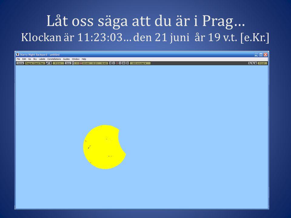 Låt oss säga att du är i Prag… Klockan är 11:23:03… den 21 juni år 19 v.t. [e.Kr.]